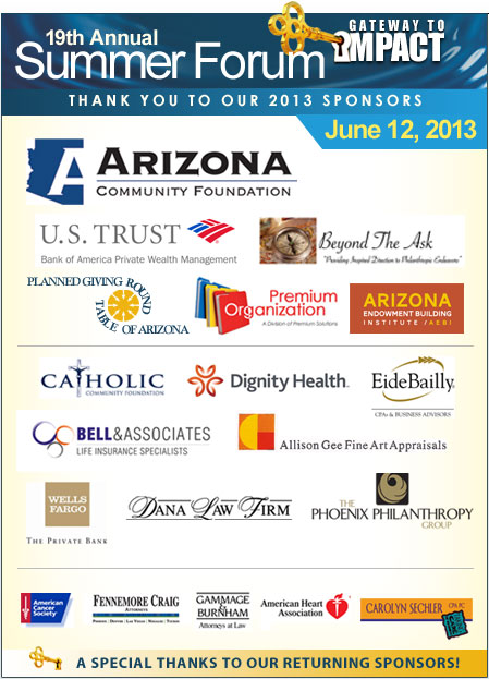 Planned Giving Round Table of Arizona - SF Sponsors Reference